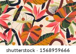 modern exotic jungle plants... | Shutterstock .eps vector #1568959666