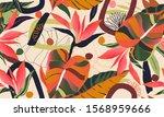 modern exotic jungle plants...   Shutterstock .eps vector #1568959666