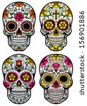 day of the dead skull vector set | Shutterstock .eps vector #156901886