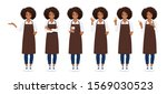 smiling woman with afro... | Shutterstock .eps vector #1569030523