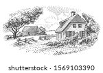 house in countryside engraving... | Shutterstock .eps vector #1569103390
