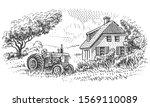an old tractor near farmhouse... | Shutterstock .eps vector #1569110089