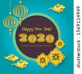 new year 2020 greeting... | Shutterstock .eps vector #1569114949