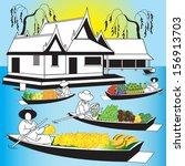 asian thai vendors transporting ... | Shutterstock .eps vector #156913703