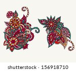 two fully editable floral... | Shutterstock .eps vector #156918710