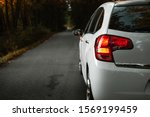 Small photo of Side mirror turn signal (blinker). Turn indicator on the mirror (left) and white car on the road in autumn dark forest. Illuminated car standing on the edge of the way in forest - natural sunlight.
