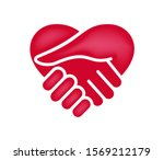 hand shake with heart shaped... | Shutterstock .eps vector #1569212179