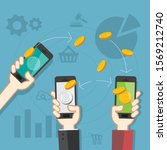 mobile as a way to make money.   Shutterstock .eps vector #1569212740