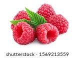 Ripe Raspberries With Leaf...