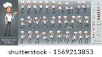 cartoon flat cute funny chief... | Shutterstock .eps vector #1569213853