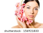 beautiful young woman face with ... | Shutterstock . vector #156921833