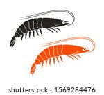 shrimp logo. isolated shrimp on ... | Shutterstock .eps vector #1569284476