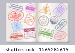 passport stamps. travel and... | Shutterstock .eps vector #1569285619