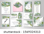 wedding invitation with leaves... | Shutterstock .eps vector #1569324313