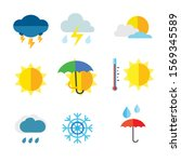 weather colorful icons. vector... | Shutterstock .eps vector #1569345589
