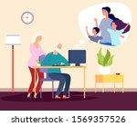 family video call. online... | Shutterstock .eps vector #1569357526