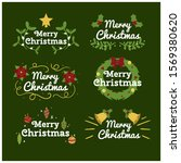 vintage merry christmas flowers ... | Shutterstock .eps vector #1569380620