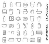 Modern Plastic Tableware Icons...