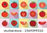 Tomato Icons Set. Flat Set Of...