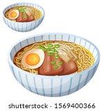 japanese ramen soup cartoon... | Shutterstock . vector #1569400366