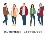 silhouettes of men and women... | Shutterstock .eps vector #1569407989