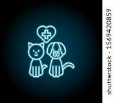 cat  dog  heart  blue neon icon....
