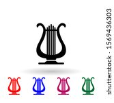lyre multi color icon. simple...