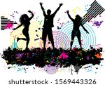 dancing people silhouettes.... | Shutterstock . vector #1569443326