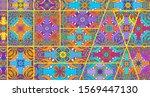 vector patchwork quilt pattern. ...   Shutterstock .eps vector #1569447130
