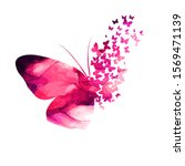 pink paint butterfly. abstract... | Shutterstock .eps vector #1569471139