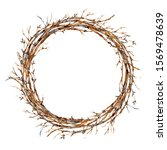 watercolor tree branches wreath ... | Shutterstock . vector #1569478639