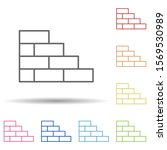 brick in multi color style icon....