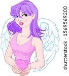 illustration of cute girl holds ... | Shutterstock . vector #1569569200