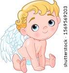 illustration of baby cupid... | Shutterstock . vector #1569569203