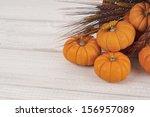Fall Mini Pumpkins And Wheat...