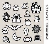 halloween icon set.illustrator... | Shutterstock .eps vector #156961178