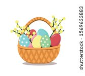 easter wicker basket with... | Shutterstock .eps vector #1569633883