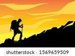 illustration of a man climbing... | Shutterstock .eps vector #1569659509