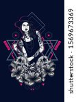 gothic women with tattoo and... | Shutterstock . vector #1569673369