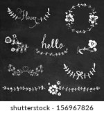 Chalkboard hand drawn graphic flower set