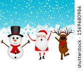 cartoon funny santa claus ... | Shutterstock . vector #1569680986