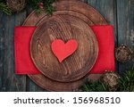 Christmas background with rustic ornaments and fir tree. Xmas vintage concept. Christmas dinner - stock photo