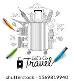 tourism and travel doodles art... | Shutterstock .eps vector #1569819940