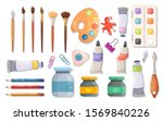 collection of art supplies on a ... | Shutterstock .eps vector #1569840226