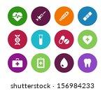 medical circle icons on white...