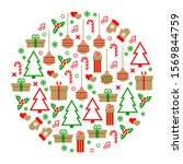 christmas wreath. decoration... | Shutterstock . vector #1569844759