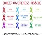 watercolor awareness ribbons.... | Shutterstock . vector #1569858433