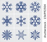 snowflakes. vector icons set.... | Shutterstock .eps vector #156992504