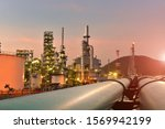 Oil Refinery Plant Sunset ...