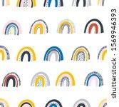 various rainbows. kids drawing... | Shutterstock .eps vector #1569946393